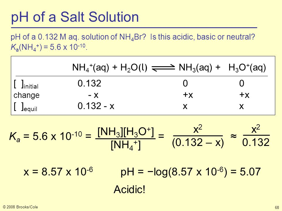 pH of a Salt Solution Ka = 5.6 x 10-10 = = ≈ [NH3][H3O+] [NH4+] x2